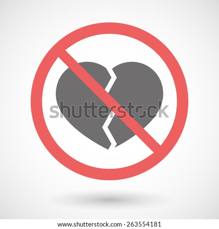 Illustration of a forbidden signal with a broken heart - stock vector
