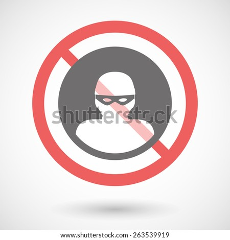 Illustration of a forbidden signal with a thief - stock vector