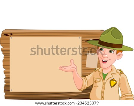 Illustration of a forest ranger or park ranger pointing at a wooden sign - stock vector