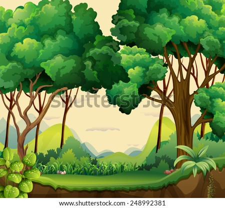 Illustration of a forest view at daytime - stock vector