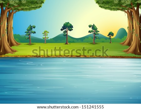 Illustration of a forest with a river - stock vector