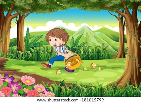 Illustration of a forest with a young boy picking mushrooms - stock vector