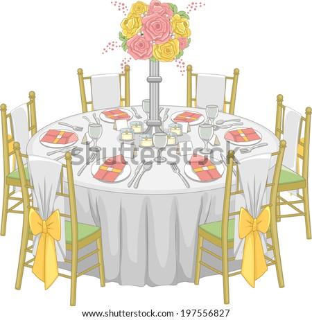 Illustration of a Formal Table Set-up at a Reception Hall  sc 1 st  Shutterstock & Illustration Formal Table Setup Reception Hall Stock Vector HD ...