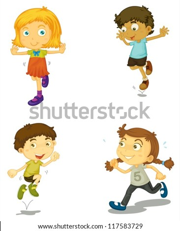 illustration of a four kids on a white background - stock vector