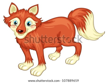 illustration of a fox on a white background - stock vector