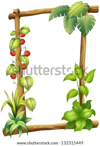 Illustration of a frame with plants on a white background - stock vector