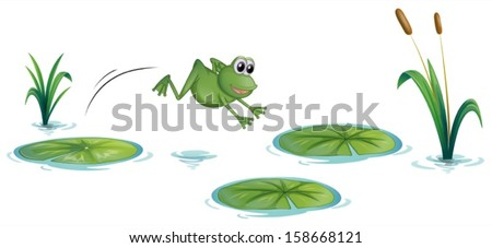 Illustration of a frog at the pond with waterlilies on a white background - stock vector