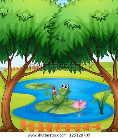 Cartoon Kids Illustration Pond Life Frog Stock Vector 97205564 ...