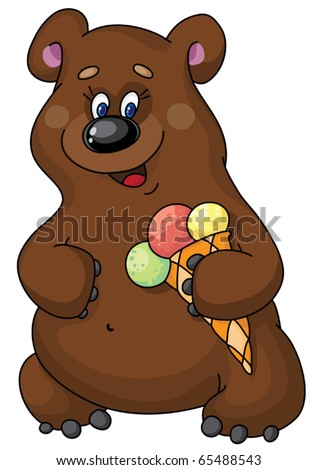 illustration of a funny bear and  ice cream