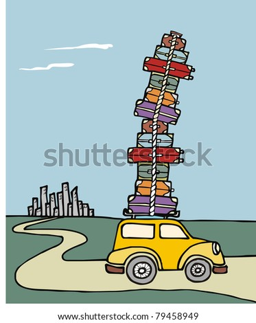 Illustration of a funny car with a lot of luggage on the roof with a city in the background. Vector file available. - stock vector