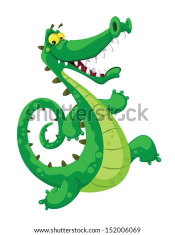 illustration of a funny crocodile - stock vector