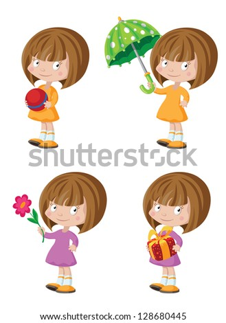 illustration of a funny girl set - stock vector