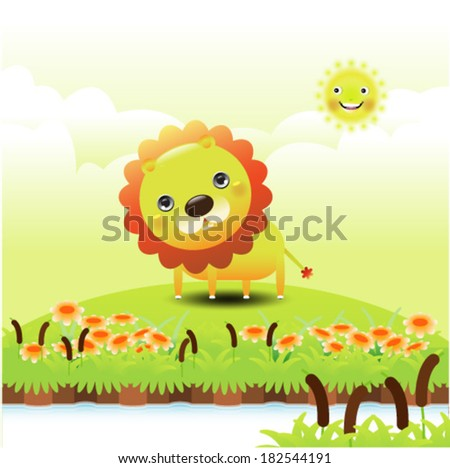 Illustration of a funny lion on green grass