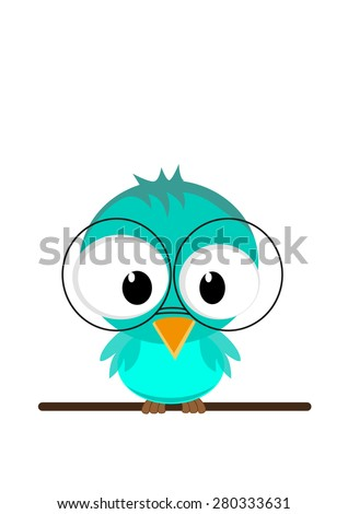 Illustration of a funny owl  in glasses sitting on a branch. Vector EPS10 - stock vector