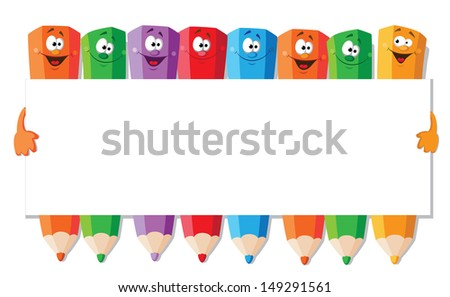 illustration of a funny pencils with paper - stock vector