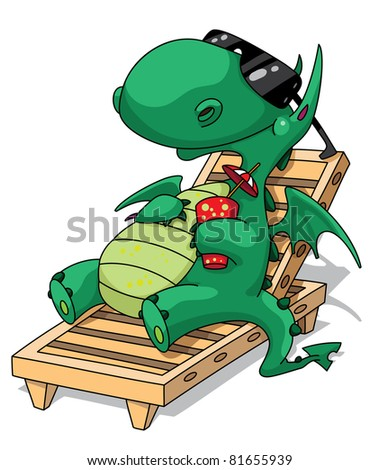 illustration of a funny relaxation dragon - stock vector