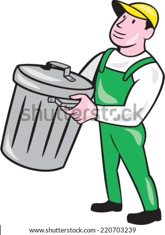 Illustration of a garbage collector carrying garbage waste rubbish bin looking to the side on isolated white background done in cartoon style. - stock vector
