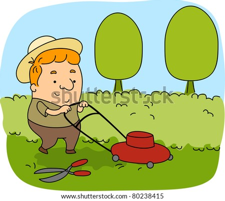 Illustration of a Gardener at Work - stock vector