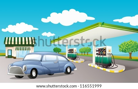 Illustration of a gas station - stock vector