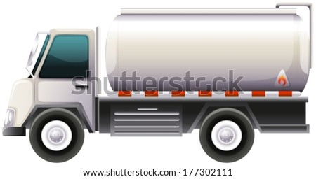 Illustration of a gasoline truck on a white background - stock vector