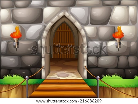 Illustration of a gate of a castle - stock vector