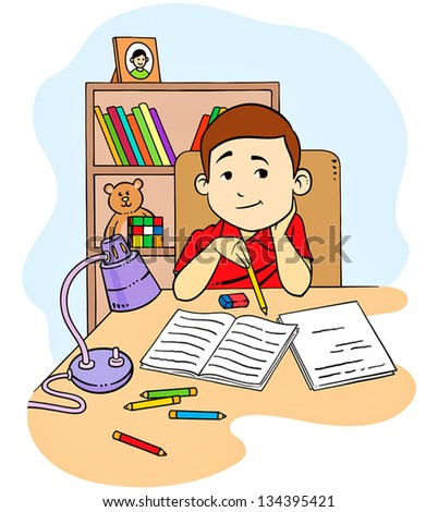 Illustration of a Geeky Student Studying - stock vector