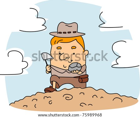 Illustration of a Geologist at Work - stock vector