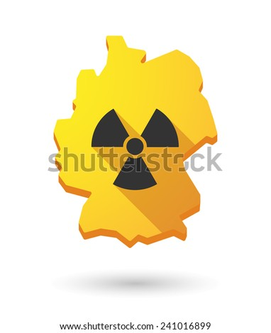 Illustration of a Germany map icon with a radioactivity sign - stock vector