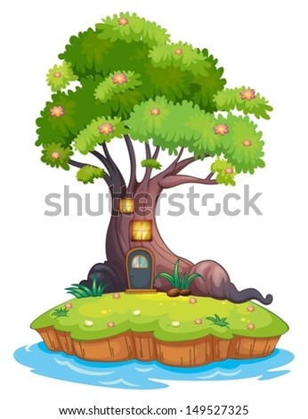Illustration of a giant tree in an island on a white background - stock vector