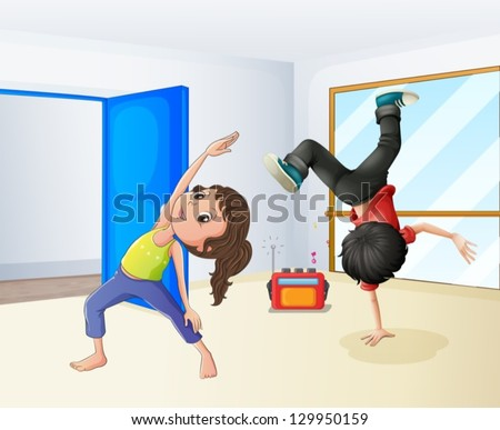 Illustration of a girl and a boy dancing - stock vector
