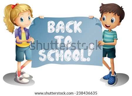 Illustration of a girl and a boy holding a back to school sign - stock vector
