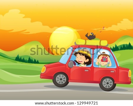 Illustration of a girl and a boy riding in a red car - stock vector