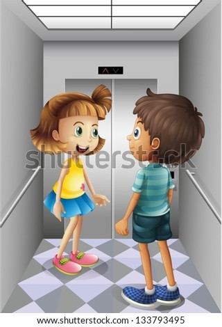 Illustration of a girl and a boy talking inside the elevator - stock vector