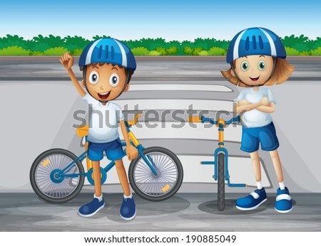 Illustration of a girl and a boy with their bikes standing near the pedestrian lane - stock vector