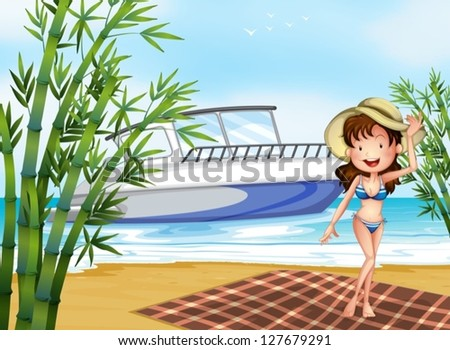 Illustration of a girl at the beach with a blanket