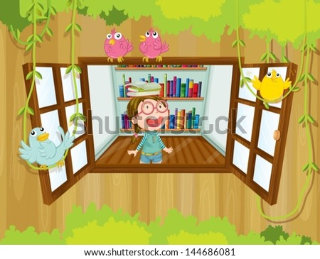 Illustration of a girl at the tree house with books above her head - stock vector