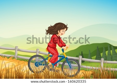 Illustration of a girl biking at the farm - stock vector
