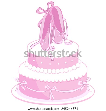 Illustration of a girl birthday cake decorated with ballet shoes, pearls and ribbons.