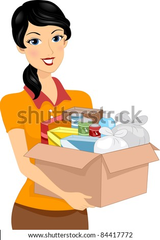 Illustration of a Girl Carrying a Donation Box Full of Goods - stock vector