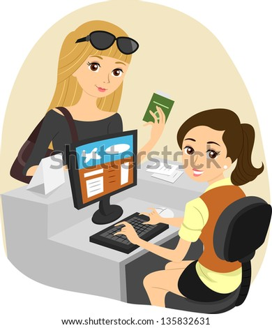 Illustration of a Girl Checking In at the Airport - stock vector