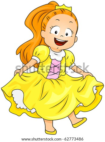 Illustration of a Girl Dressed as a Princess - stock vector
