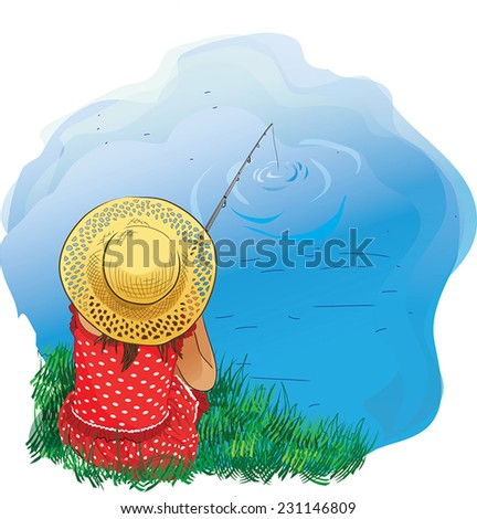 Illustration of a girl fishing on the shore - stock vector
