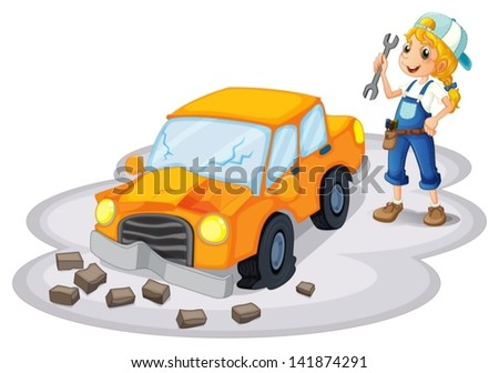 Illustration of a girl fixing a broken car on a white background - stock vector