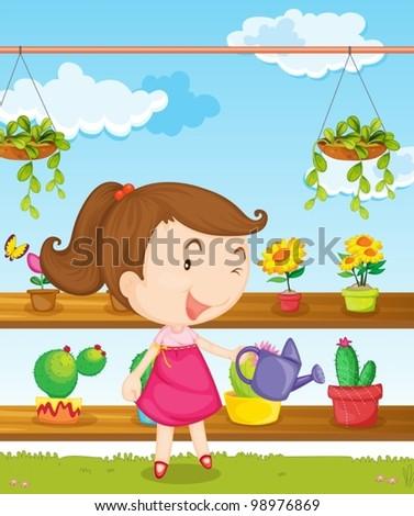 Illustration of a girl gardening - stock vector