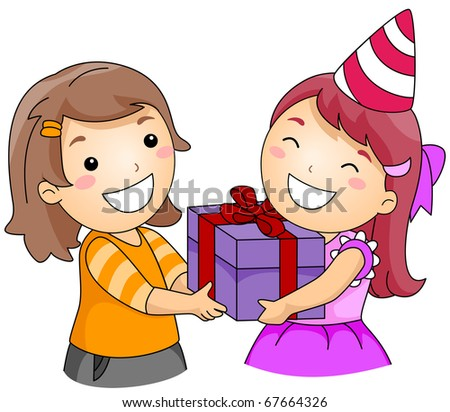 Illustration of a Girl Giving a Gift to Another Girl - stock vector