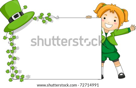 Illustration of a Girl Holding a St. Patrick-themed Banner - stock vector