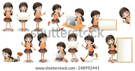 Illustration of a girl in different poses holding a sign - stock vector