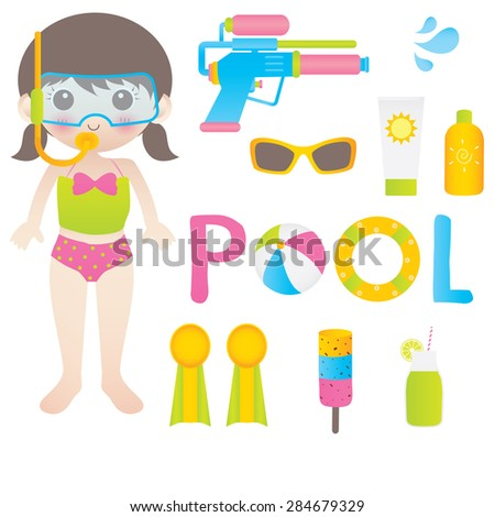 Illustration of a Girl in pool - stock vector