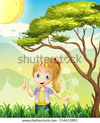 Illustration of a girl in the forest with a carnival