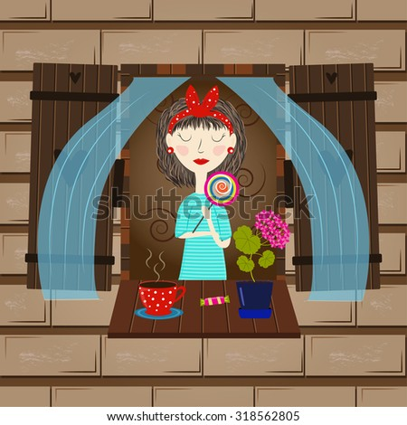 Illustration of a girl in the window that drinking tea . A romantic illustration of a girl . - stock vector